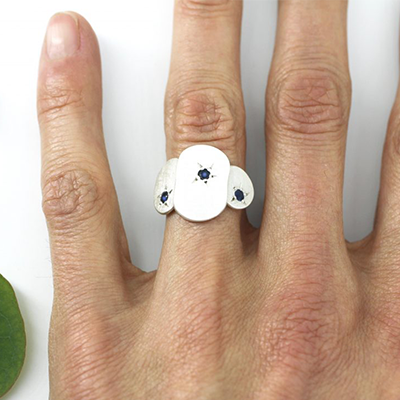 Flat Star Sapphire Ring